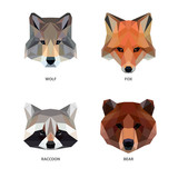 Vector polygonal animals set isolated on white. Low poly predators illustration. Color vector simple image.