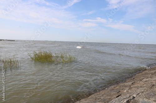 Deurstickers Noordzee Blick von Steindamm auf die Nordsee