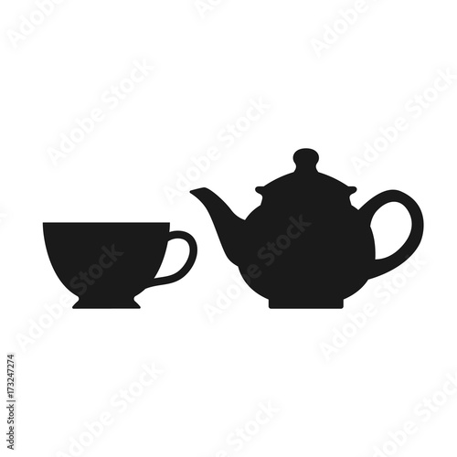 The teapot and cup icon. Tea symbol. Teapot and cup isolated on white background. Vector stock. © Fayee