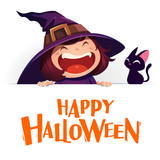 Happy Halloween. Little witch with big signboard. White background. - 173249431