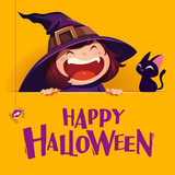 Happy Halloween. Little witch with big signboard. Yellow background. - 173249438