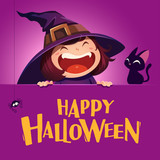 Happy Halloween. Little witch with big signboard. Purple background. - 173249439