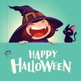 Happy Halloween. Little witch with big signboard. Turquoise backgroud. - 173249479