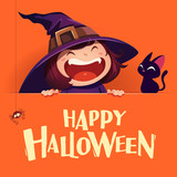Happy Halloween. Little witch with big signboard. Orange background. - 173249497