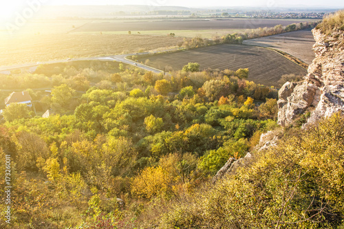 Tuinposter Herfst Seasonal natural outdoors scene in sunset