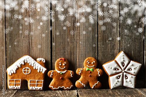 Fototapeta Christmas homemade gingerbread cookies