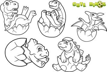 cartoon baby dinosaur picture set © fargon