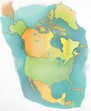 Watercolor map of North America