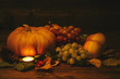 tuberculate yellow pumpkin. on a blurred background of other pumpkins