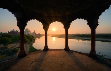 Taj Mahal at sunset, India