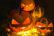 Funny pumpkin. halloween. faces. candle