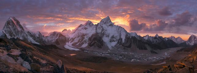 Mount Everest Range at sunrise © inigocia