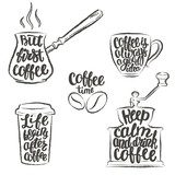 Coffee lettering in cup, grinder, pot grunge contours. Modern calligraphy quotes about coffee. Vintage coffee objects set with handwritten phrases. - 173311800