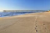 Fishing pier and sand at Kure Beach, North Carolina - 173313646