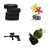 Competition, contest, equipment, tires .Paintball set collection icons in cartoon style vector symbol stock illustration web.