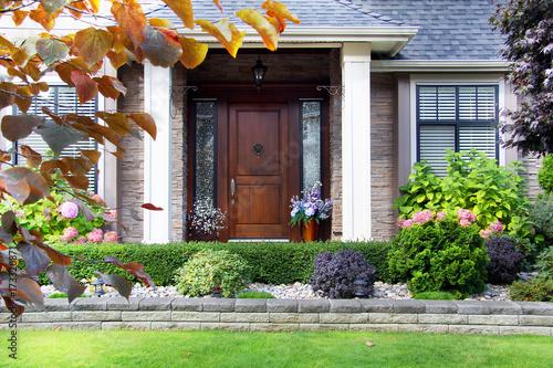 Front door of a beautiful luxury home. Poster
