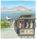 Sketch of San Francisco cable car with tourists