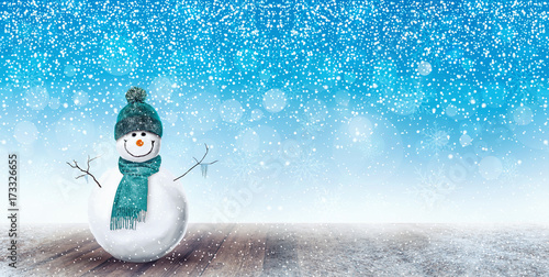 Happy Snowman Christmas background 3D Rendering Poster