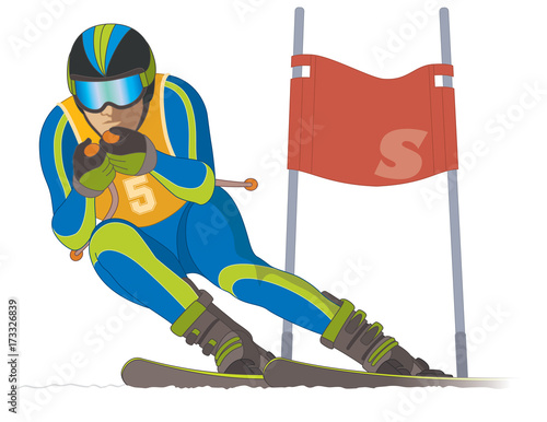 skier male, racing downhill with ski flag in the background