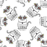 Seamless pattern of hand drawn sketch style abstract cat. Vector illustration isolated on white background.