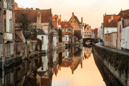 Deurstickers Brugge Silent evening in Bruges, Belgium