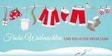 Weihnachten Grußkarte mit Weihnachtsmannkostüm an der Leine - 173331007