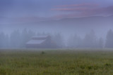 Morning Fog Over Kawuneeche Valley Barn - 173338693