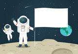 Astronaut with Blank Flag / Banner on the Moon - 173382471