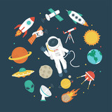 Space objects. Astronaut, rocket, planets, UFO, satellite, etc - 173382609