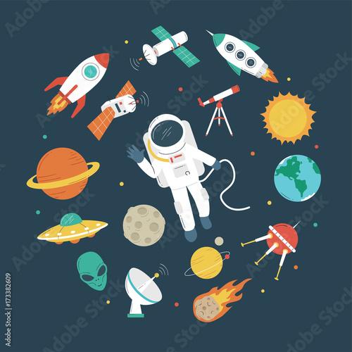 Fototapeta Space objects. Astronaut, rocket, planets, UFO, satellite, etc