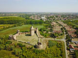 Air view  of ruins of  Bac fortress and village in Serbia - 173385223