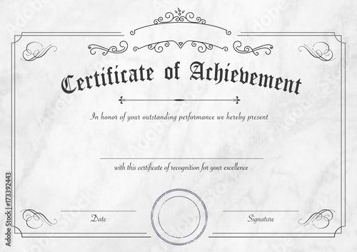 retro certificate of achievement paper template with modern white