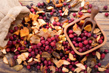 mixed of dried fruits  on a wooden table