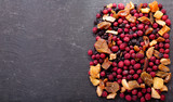 mixed of dried fruits, top view
