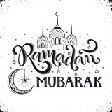 Ramadan Mubarak hand drawn calligraphy isolated on white background. Islam 9th month symbols. Mosque dome, crescent and stars with Ramadan wording in sketch style. - 173412870