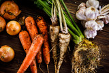 Raw vegetables on wooden background - 173419488