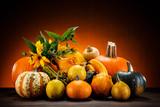 Pumpkins on planks