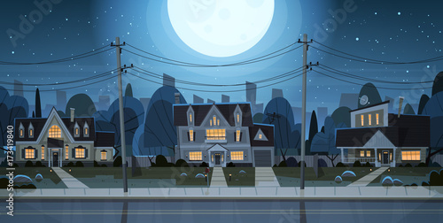 Houses Night View Suburb Of Big City, Cottage Real Estate Cute Town Concept Flat Vector Illustration - 173419840
