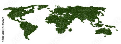 Aluminium Wereldkaarten Mappa del nuovo mondo ecologico, Planisfero erboso, pianeta verde, ecologia, illustrazione 3d