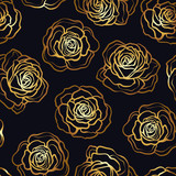 Rose flower seamless pattern. Gold roses on black background. St - 173434651