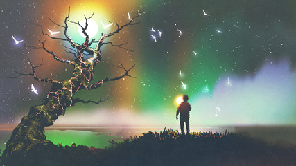 night scenery of the boy with the light ball looking at fantasy tree, digital art style, illustration painting © grandfailure