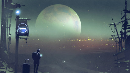 night scenery of the boy at the bus stop waiting, digital art style, illustration painting © grandfailure