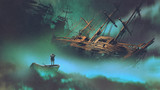 surreal scenery of the man on a boat in the outer space with clouds looking at derelict ship, digital art style, illustration painting - 173454061