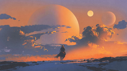 cowboy riding a horse against sunset sky with planets background, digital art style, illustration painting © grandfailure
