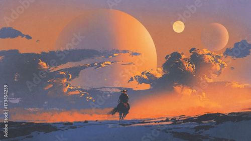 Poster Oranje eclat cowboy riding a horse against sunset sky with planets background, digital art style, illustration painting