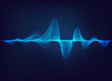 abstract digital green blue equalizer, sound wave pattern element - 173456859
