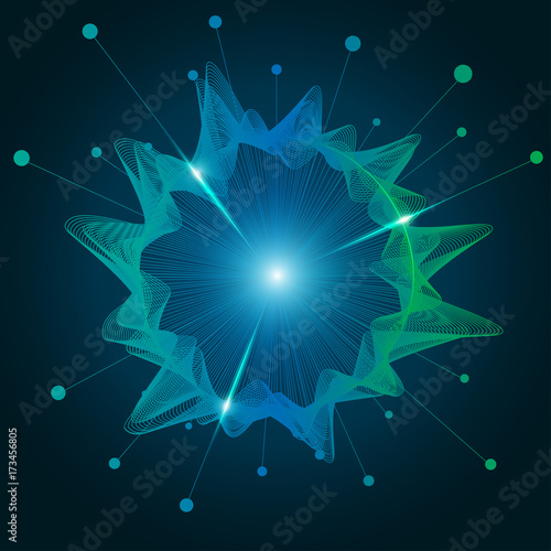In de dag Abstract wave abstract futuristic background, technology abstract in circular waveform