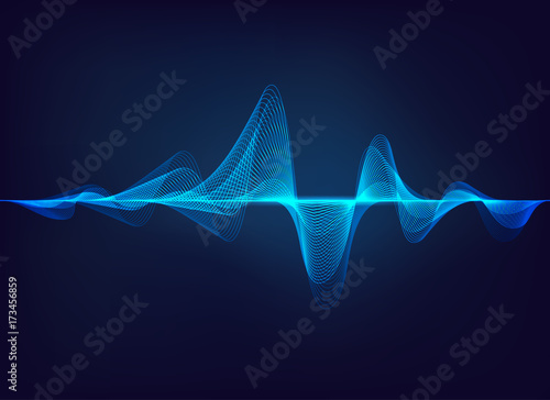 Tuinposter Abstract wave abstract digital green blue equalizer, sound wave pattern element