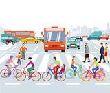 Stadt mit Radfahrer und Straßenverkehr, illustration  - 173462443