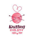 Knitting logo or symbol. Ball of yarn with needles, knit icon. Lettering vector illustration